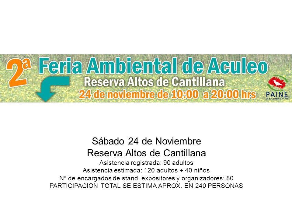 Sábado 24 de Noviembre Reserva Altos de Cantillana Asistencia registrada: 90 adultos Asistencia estimada: 120 adultos + 40 niños Nº de encargados de stand, expositores y organizadores: 80 PARTICIPACION TOTAL SE ESTIMA APROX.
