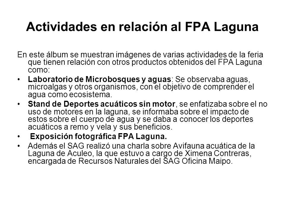 Actividades en relación al FPA Laguna En este álbum se muestran imágenes de varias actividades de la feria que tienen relación con otros productos obtenidos del FPA Laguna como: Laboratorio de Microbosques y aguas: Se observaba aguas, microalgas y otros organismos, con el objetivo de comprender el agua como ecosistema.
