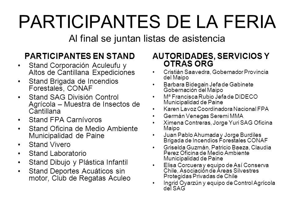 PARTICIPANTES DE LA FERIA Al final se juntan listas de asistencia PARTICIPANTES EN STAND Stand Corporación Aculeufu y Altos de Cantillana Expediciones