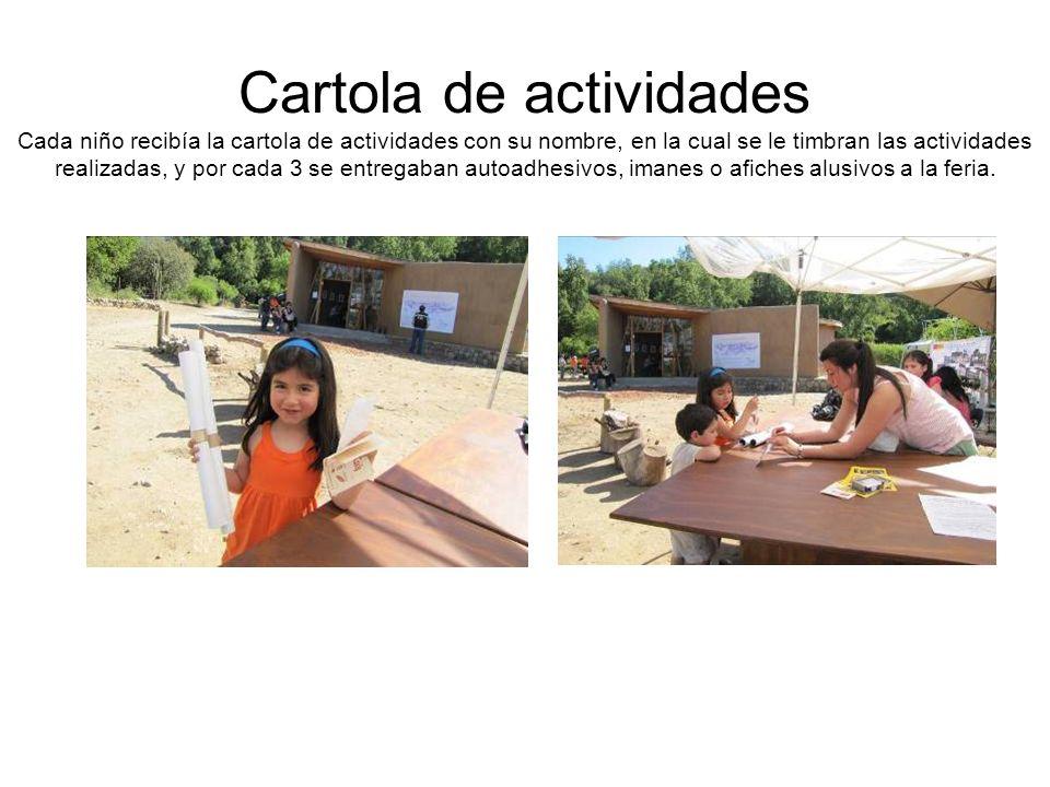 Cartola de actividades Cada niño recibía la cartola de actividades con su nombre, en la cual se le timbran las actividades realizadas, y por cada 3 se