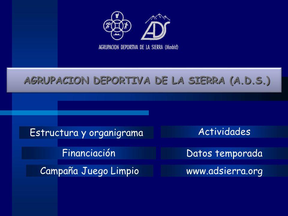 Estructura y organigrama Financiación Actividades Datos temporada Campaña Juego Limpio AGRUPACION DEPORTIVA DE LA SIERRA (A.D.S.) AGRUPACION DEPORTIVA DE LA SIERRA (A.D.S.) www.adsierra.org