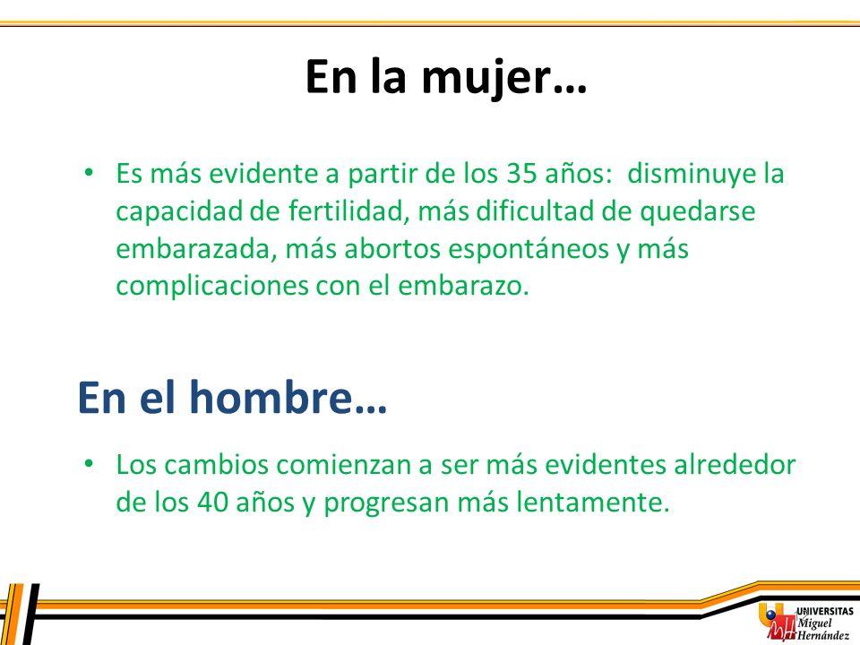 12 En la mujer… Es más evidente a partir de los 35 años: disminuye la capacidad de fertilidad, más dificultad de quedarse embarazada, más abortos espo