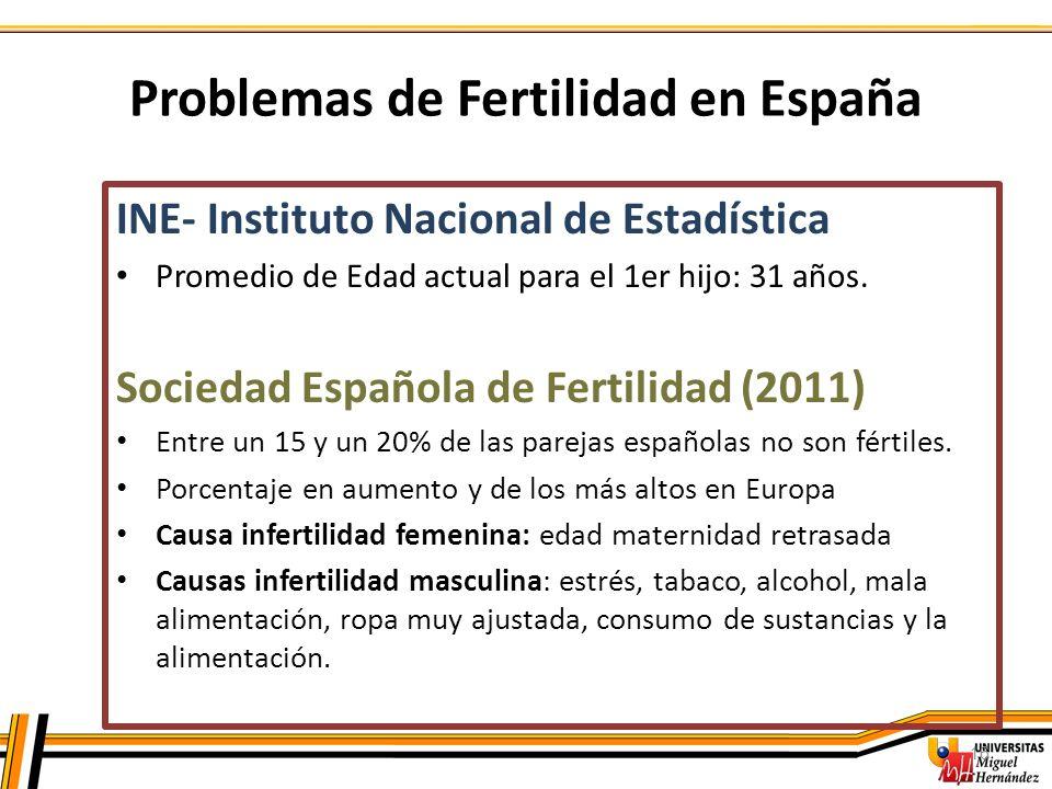 16 Problemas de Fertilidad en España INE- Instituto Nacional de Estadística Promedio de Edad actual para el 1er hijo: 31 años. Sociedad Española de Fe