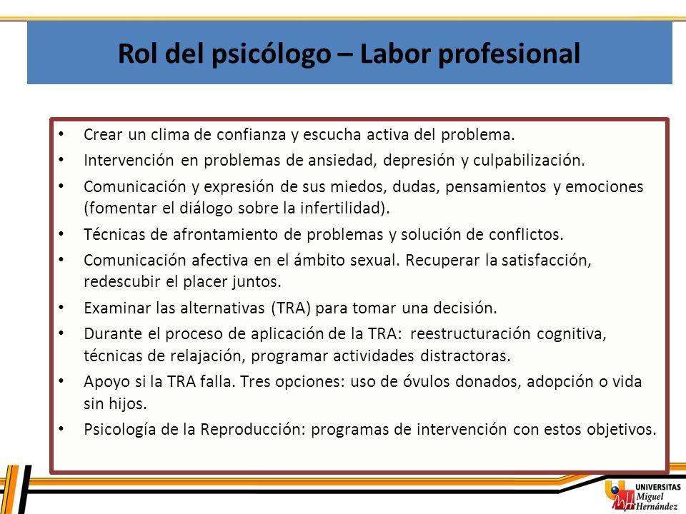 Rol del psicólogo – Labor profesional Crear un clima de confianza y escucha activa del problema. Intervención en problemas de ansiedad, depresión y cu