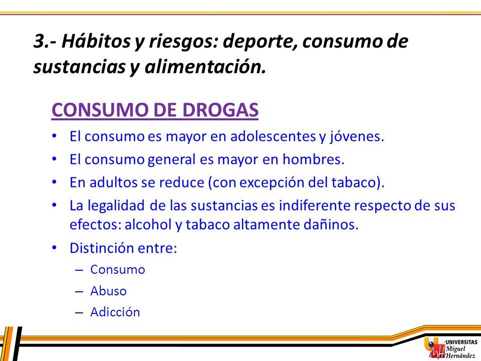 21 CONSUMO DE DROGAS El consumo es mayor en adolescentes y jóvenes. El consumo general es mayor en hombres. En adultos se reduce (con excepción del ta