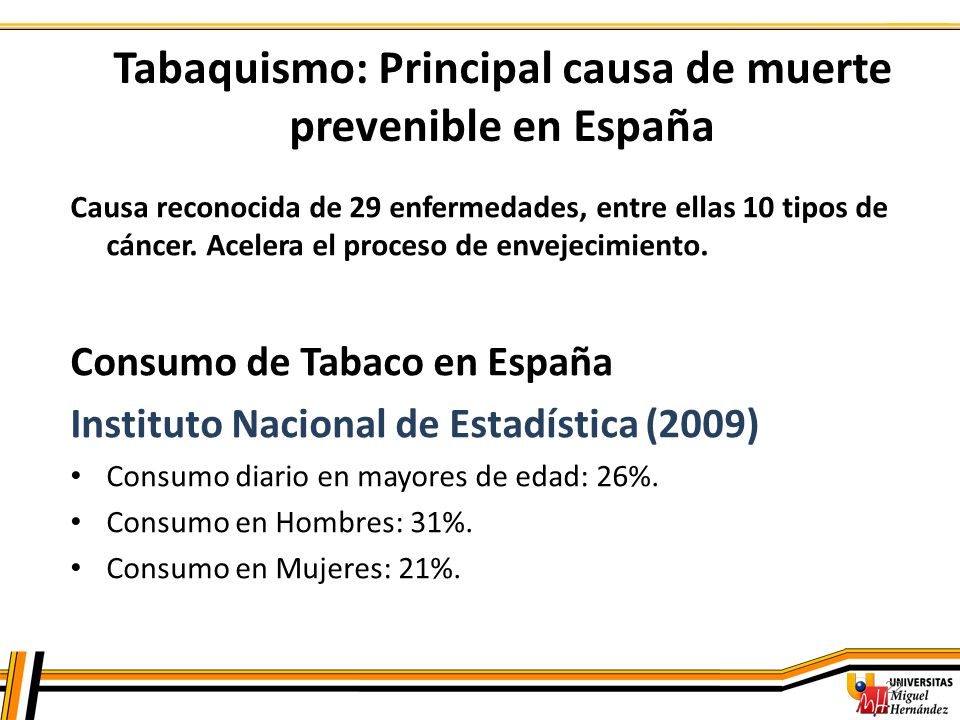 22 Tabaquismo: Principal causa de muerte prevenible en España Causa reconocida de 29 enfermedades, entre ellas 10 tipos de cáncer. Acelera el proceso