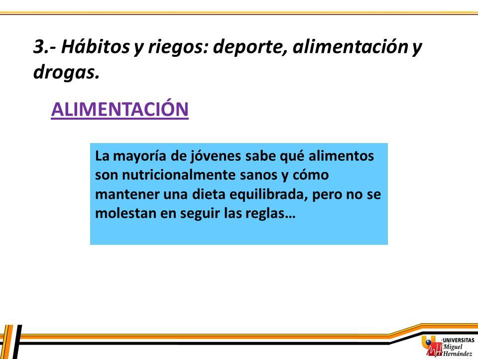 25 ALIMENTACIÓN 3.- Hábitos y riegos: deporte, alimentación y drogas. La mayoría de jóvenes sabe qué alimentos son nutricionalmente sanos y cómo mante