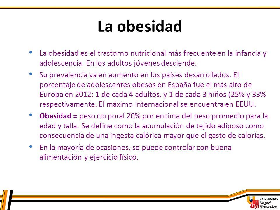 27 La obesidad La obesidad es el trastorno nutricional más frecuente en la infancia y adolescencia. En los adultos jóvenes desciende. Su prevalencia v