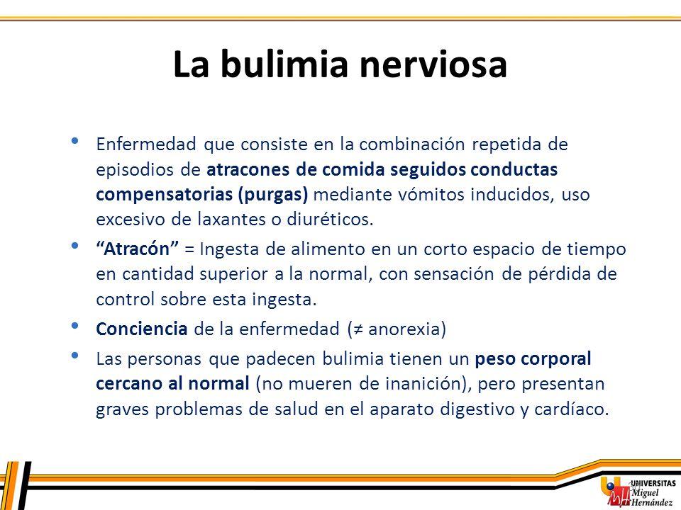 30 La bulimia nerviosa Enfermedad que consiste en la combinación repetida de episodios de atracones de comida seguidos conductas compensatorias (purga