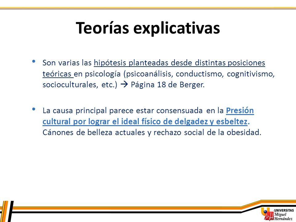 31 Teorías explicativas Son varias las hipótesis planteadas desde distintas posiciones teóricas en psicología (psicoanálisis, conductismo, cognitivism