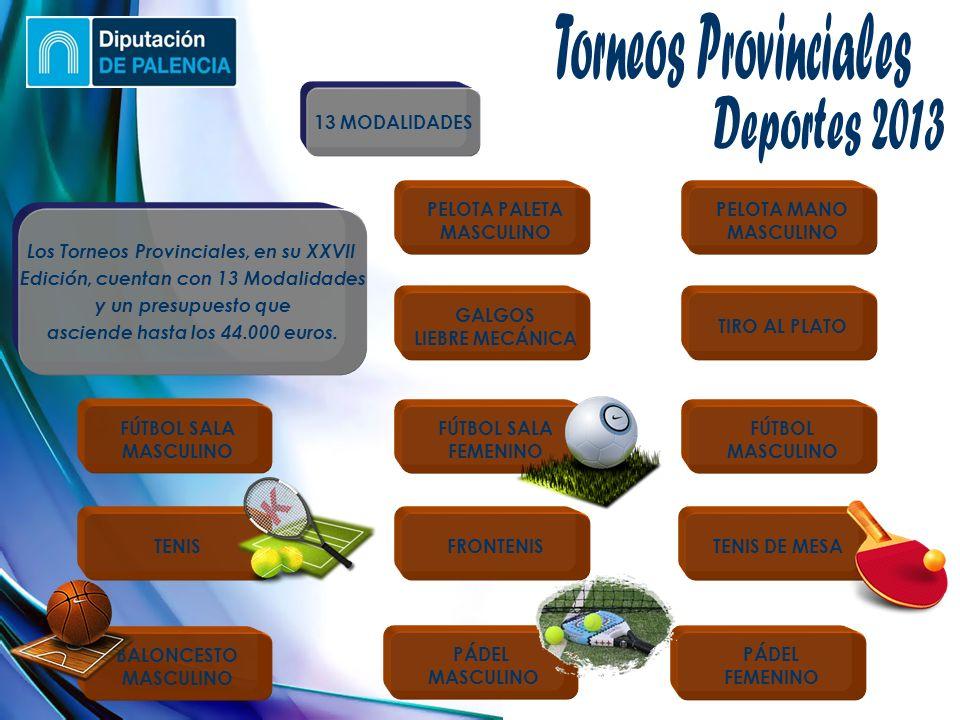 (Jueves, 10 de enero de 2013) TIRO AL PLATO PELOTA PALETA MASCULINO PELOTA MANO MASCULINO GALGOS LIEBRE MECÁNICA PÁDEL FEMENINO PÁDEL MASCULINO BALONCESTO MASCULINO FÚTBOL SALA FEMENINO FÚTBOL SALA MASCULINO FÚTBOL MASCULINO TENIS FRONTENIS TENIS DE MESA Los Torneos Provinciales, en su XXVII Edición, cuentan con 13 Modalidades y un presupuesto que asciende hasta los 44.000 euros.