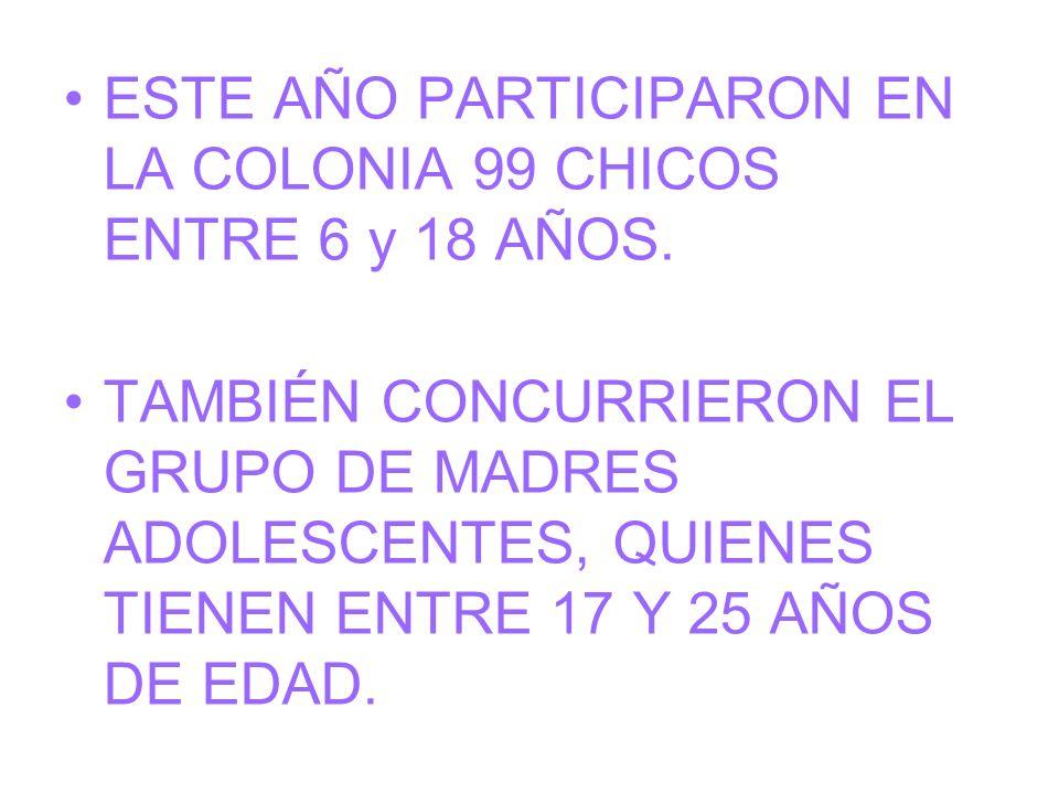 ESTE AÑO PARTICIPARON EN LA COLONIA 99 CHICOS ENTRE 6 y 18 AÑOS. TAMBIÉN CONCURRIERON EL GRUPO DE MADRES ADOLESCENTES, QUIENES TIENEN ENTRE 17 Y 25 AÑ