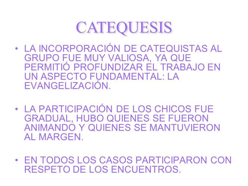 LA INCORPORACIÓN DE CATEQUISTAS AL GRUPO FUE MUY VALIOSA, YA QUE PERMITIÓ PROFUNDIZAR EL TRABAJO EN UN ASPECTO FUNDAMENTAL: LA EVANGELIZACIÓN. LA PART