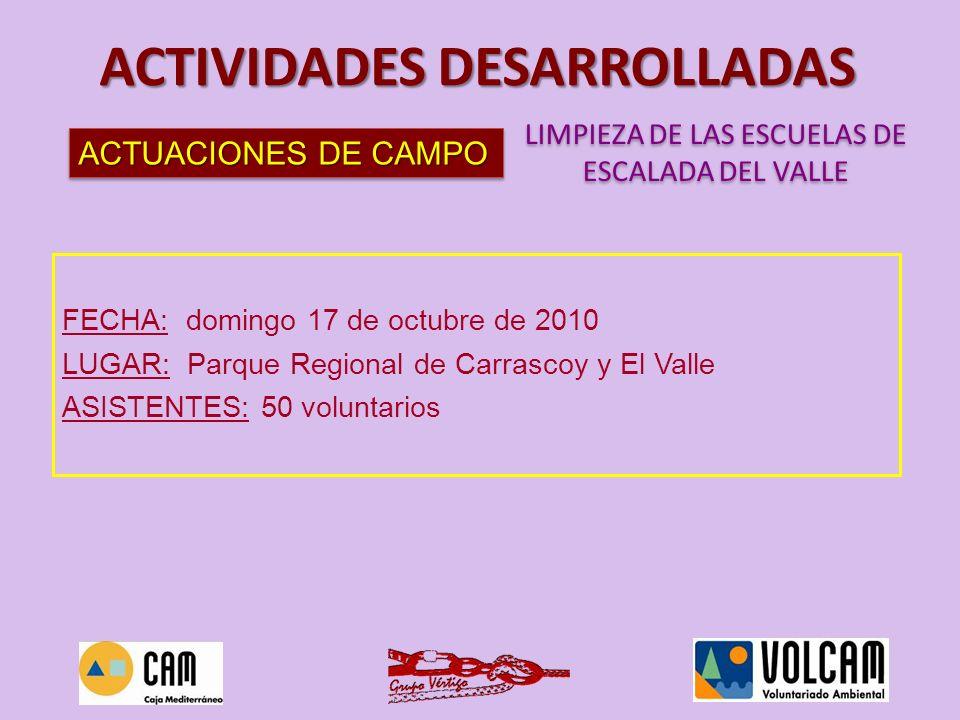 ACTUACIONES DE CAMPO LIMPIEZA DE LAS ESCUELAS DE ESCALADA DEL VALLE LIMPIEZA DE LAS ESCUELAS DE ESCALADA DEL VALLE ACTIVIDADES DESARROLLADAS FECHA: do