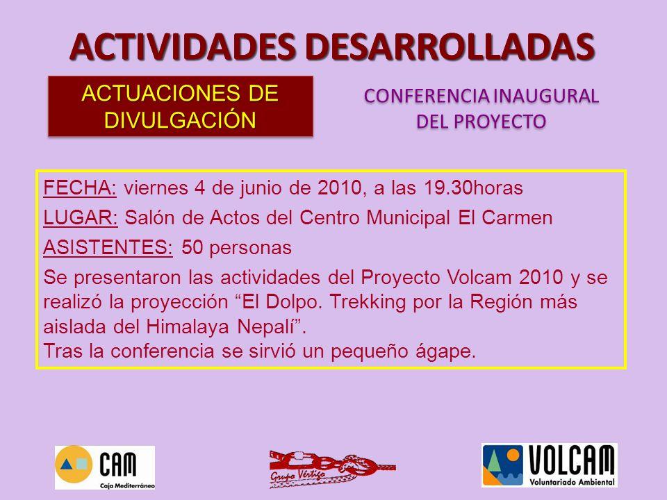 FECHA: viernes 4 de junio de 2010, a las 19.30horas LUGAR: Salón de Actos del Centro Municipal El Carmen ASISTENTES: 50 personas Se presentaron las ac