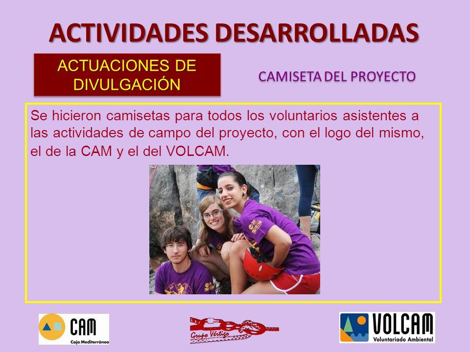 Se hicieron camisetas para todos los voluntarios asistentes a las actividades de campo del proyecto, con el logo del mismo, el de la CAM y el del VOLC