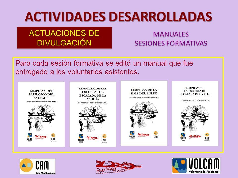 Para cada sesión formativa se editó un manual que fue entregado a los voluntarios asistentes. ACTIVIDADES DESARROLLADAS ACTUACIONES DE DIVULGACIÓN MAN