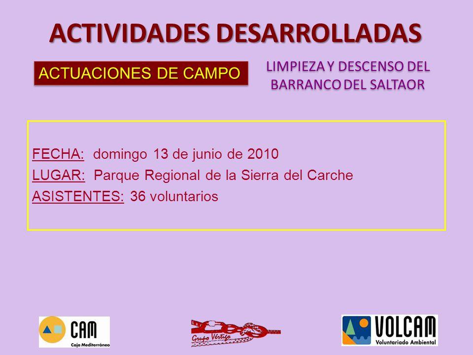 LIMPIEZA Y DESCENSO DEL BARRANCO DEL SALTAOR LIMPIEZA Y DESCENSO DEL BARRANCO DEL SALTAOR ACTIVIDADES DESARROLLADAS FECHA: domingo 13 de junio de 2010