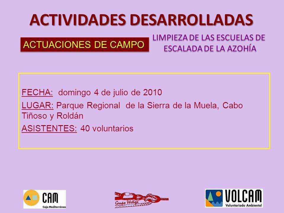 ACTUACIONES DE CAMPO LIMPIEZA DE LAS ESCUELAS DE ESCALADA DE LA AZOHÍA LIMPIEZA DE LAS ESCUELAS DE ESCALADA DE LA AZOHÍA ACTIVIDADES DESARROLLADAS FEC