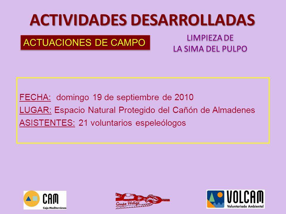 ACTUACIONES DE CAMPO LIMPIEZA DE LA SIMA DEL PULPO LIMPIEZA DE LA SIMA DEL PULPO ACTIVIDADES DESARROLLADAS FECHA: domingo 19 de septiembre de 2010 LUG