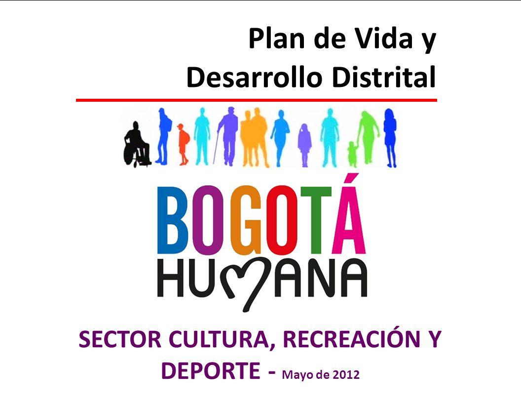 SECRETARÍA DE CULTURA, RECREACIÓN Y DEPORTE Plan de Vida y Desarrollo Distrital SECTOR CULTURA, RECREACIÓN Y DEPORTE - Mayo de 2012