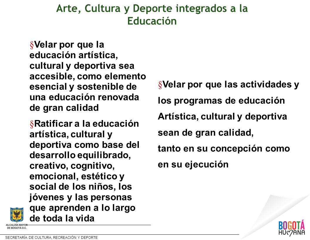 SECRETARÍA DE CULTURA, RECREACIÓN Y DEPORTE § Velar por que la educación artística, cultural y deportiva sea accesible, como elemento esencial y soste
