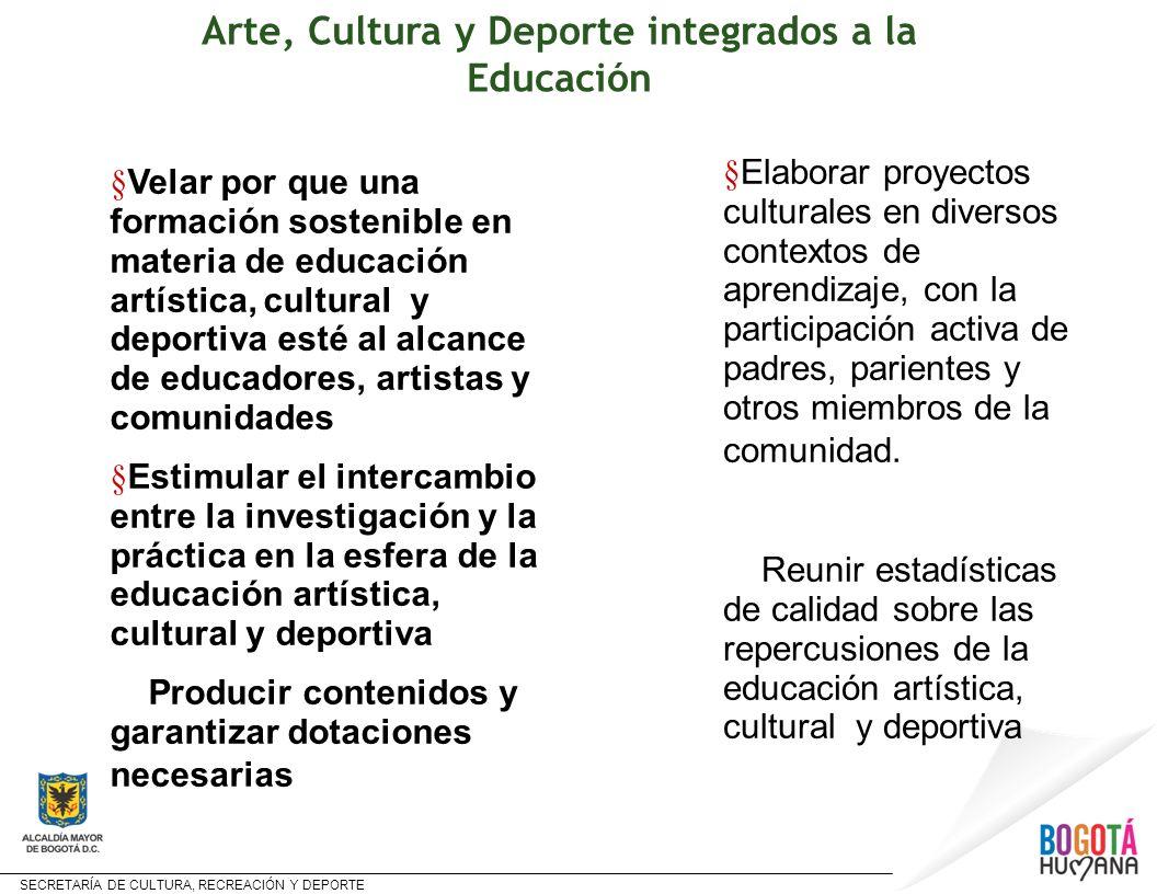 SECRETARÍA DE CULTURA, RECREACIÓN Y DEPORTE § Velar por que una formación sostenible en materia de educación artística, cultural y deportiva esté al a