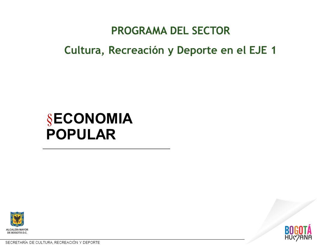 SECRETARÍA DE CULTURA, RECREACIÓN Y DEPORTE PROGRAMA DEL SECTOR Cultura, Recreación y Deporte en el EJE 1 § ECONOMIA POPULAR