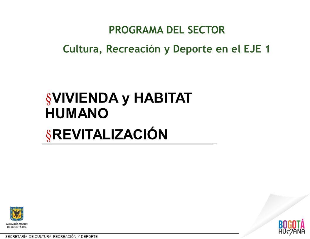 SECRETARÍA DE CULTURA, RECREACIÓN Y DEPORTE PROGRAMA DEL SECTOR Cultura, Recreación y Deporte en el EJE 1 § VIVIENDA y HABITAT HUMANO § REVITALIZACIÓN