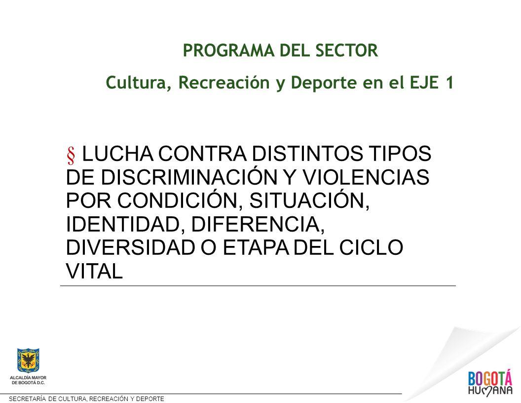 SECRETARÍA DE CULTURA, RECREACIÓN Y DEPORTE Estructura y contenido del Programa PROGRAMA PROYECTO CR y D y META LUCHA CONTRA DISTINTOS TIPOS DE DISCRIMINACIÓN Y VIOLENCIAS POR CONDICIÓN, SITUACIÓN, IDENTIDAD, DIFERENCIA, DIVERSIDAD O ETAPA DEL CICLO VITAL BOGOTA PROMUEVE LA DIVERISDAD META Reducir a 20% la percepción de discriminación en la ciudad LINEA de BASE 23,4%