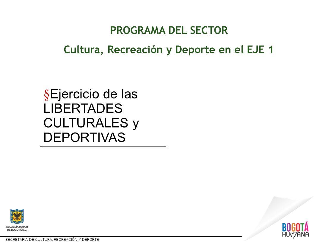 SECRETARÍA DE CULTURA, RECREACIÓN Y DEPORTE PROGRAMA DEL SECTOR Cultura, Recreación y Deporte en el EJE 1 § Ejercicio de las LIBERTADES CULTURALES y D
