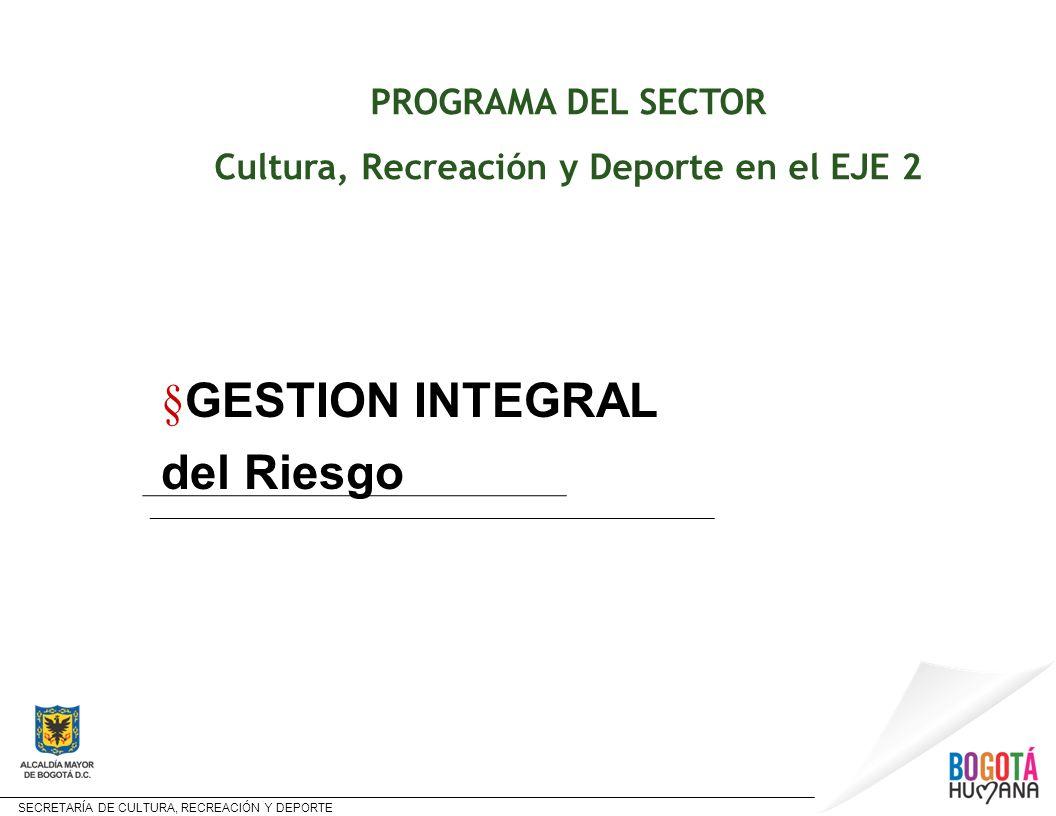 SECRETARÍA DE CULTURA, RECREACIÓN Y DEPORTE PROGRAMA DEL SECTOR Cultura, Recreación y Deporte en el EJE 2 § GESTION INTEGRAL del Riesgo