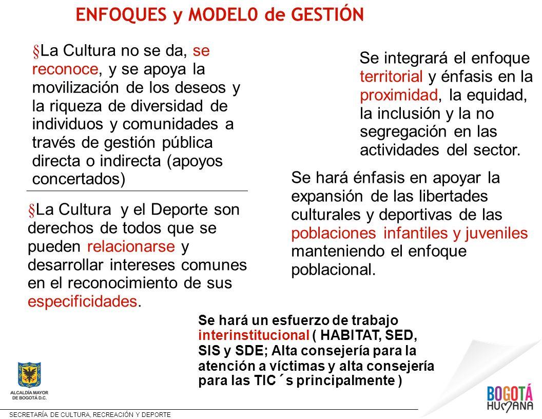 SECRETARÍA DE CULTURA, RECREACIÓN Y DEPORTE Se integrará el enfoque territorial y énfasis en la proximidad, la equidad, la inclusión y la no segregaci