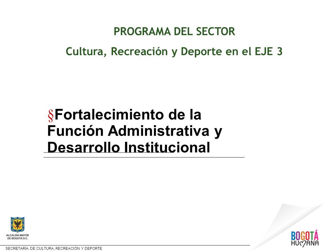 SECRETARÍA DE CULTURA, RECREACIÓN Y DEPORTE Estructura y contenido del Programa PROGRAMA PROYECTO CR y D y META FORTALECIMIENTO DE LA FUNCIÓN ADMINISTRATIVA Y DESARROLLO INSTITUCIONAL BOGOTÁ HUMANA AL SERVICIO DE LA CIUDADANÍA Metas en el sector: Fortalecimiento del Sistema de Información y Observatorio de Culturas Plan Sectorial