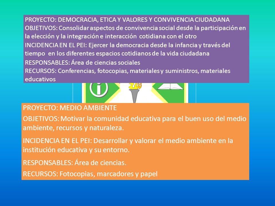 PROYECTO: MEDIO AMBIENTE OBJETIVOS: Motivar la comunidad educativa para el buen uso del medio ambiente, recursos y naturaleza.
