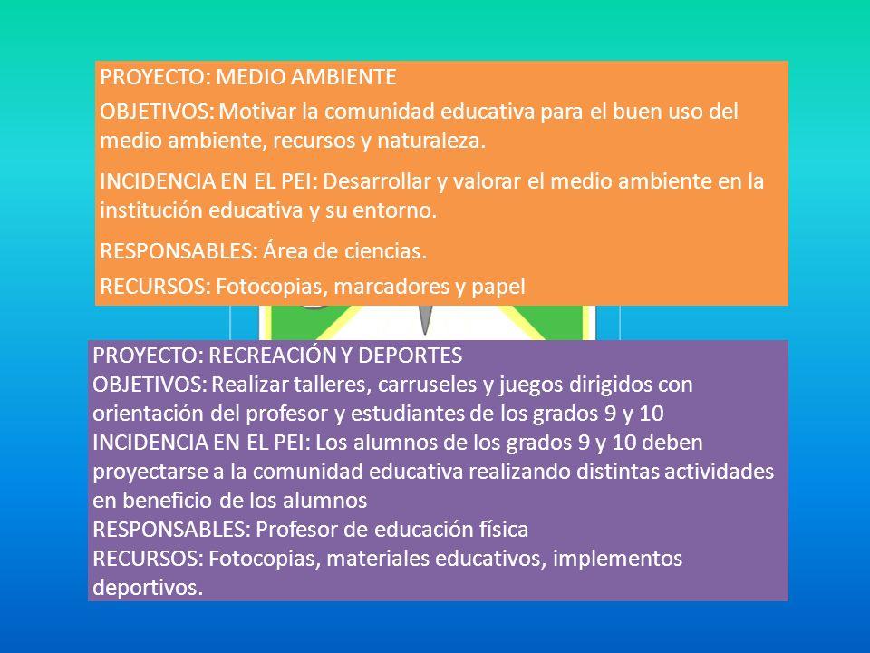 PROYECTO: MEDIO AMBIENTE OBJETIVOS: Motivar la comunidad educativa para el buen uso del medio ambiente, recursos y naturaleza. INCIDENCIA EN EL PEI: D