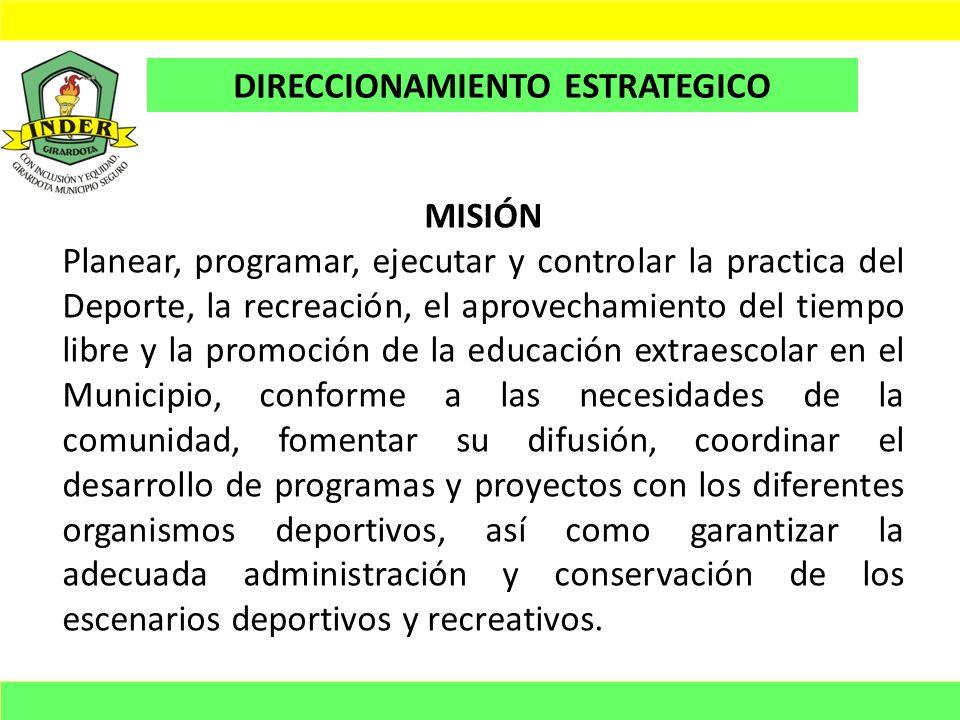 VISIÓN En el 2011 el INDER, será la Entidad líder en la programación, planeación, ejecución y control de la practica del Deporte, la recreación, el aprovechamiento del tiempo libre y la promoción de la educación extraescolar en el Municipio de Girardota y generar impacto a la comunidad