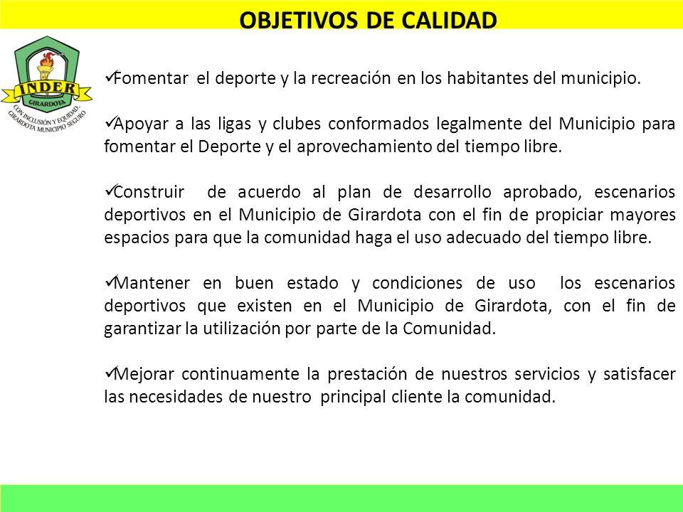 OBJETIVOS DE CALIDAD Fomentar el deporte y la recreación en los habitantes del municipio. Apoyar a las ligas y clubes conformados legalmente del Munic