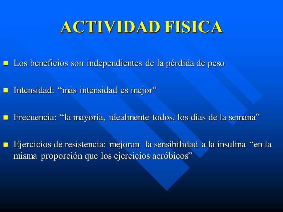 ACTIVIDAD FISICA Los beneficios son independientes de la pérdida de peso Los beneficios son independientes de la pérdida de peso Intensidad: más inten