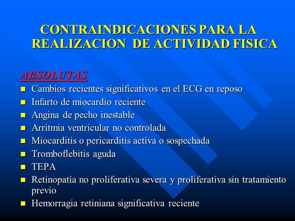 CONTRAINDICACIONES PARA LA REALIZACION DE ACTIVIDAD FISICA CONTRAINDICACIONES PARA LA REALIZACION DE ACTIVIDAD FISICAABSOLUTAS Cambios recientes signi