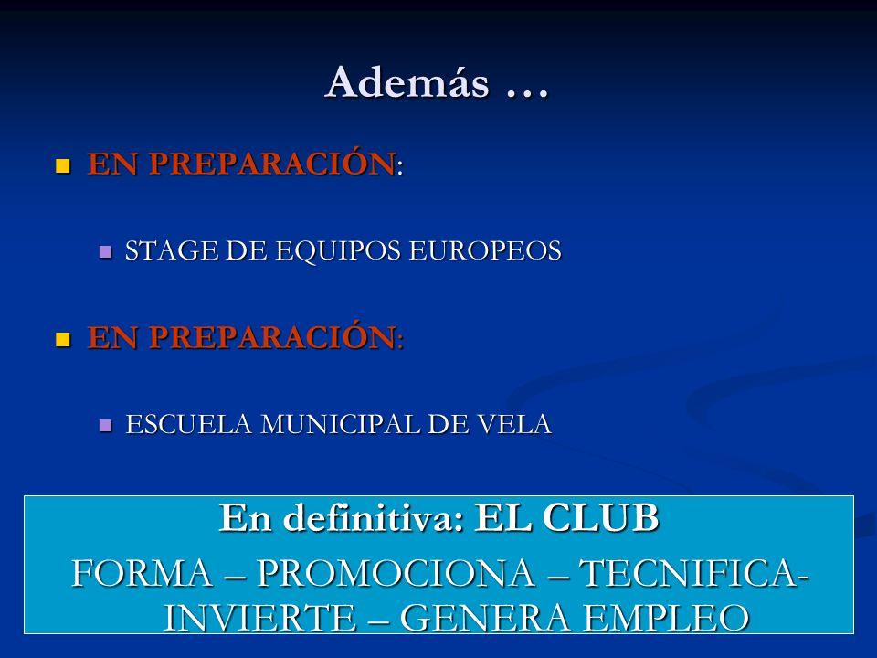 EN PREPARACIÓN: EN PREPARACIÓN: STAGE DE EQUIPOS EUROPEOS STAGE DE EQUIPOS EUROPEOS EN PREPARACIÓN: EN PREPARACIÓN: ESCUELA MUNICIPAL DE VELA ESCUELA