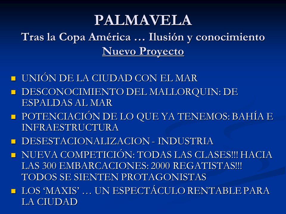 PALMAVELA Tras la Copa América … Ilusión y conocimiento Nuevo Proyecto UNIÓN DE LA CIUDAD CON EL MAR UNIÓN DE LA CIUDAD CON EL MAR DESCONOCIMIENTO DEL