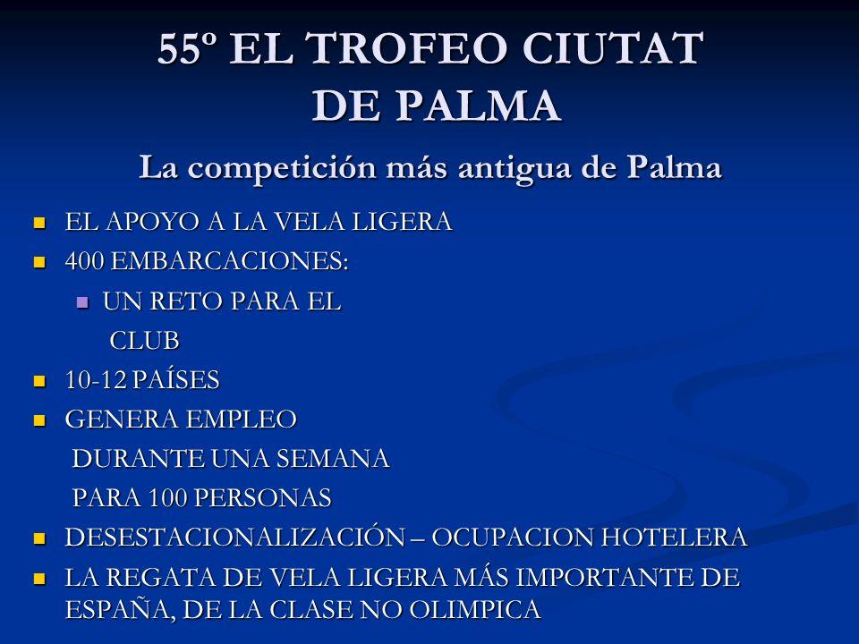 55º EL TROFEO CIUTAT DE PALMA La competición más antigua de Palma EL APOYO A LA VELA LIGERA EL APOYO A LA VELA LIGERA 400 EMBARCACIONES: 400 EMBARCACI