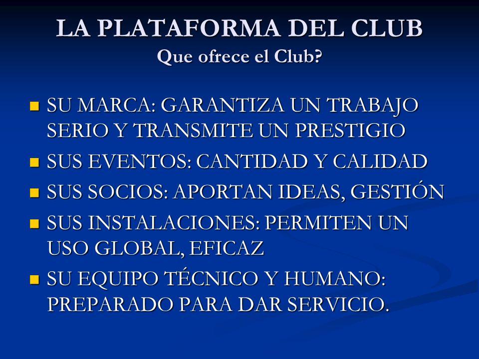 LA PLATAFORMA DEL CLUB Que ofrece el Club? SU MARCA: GARANTIZA UN TRABAJO SERIO Y TRANSMITE UN PRESTIGIO SU MARCA: GARANTIZA UN TRABAJO SERIO Y TRANSM