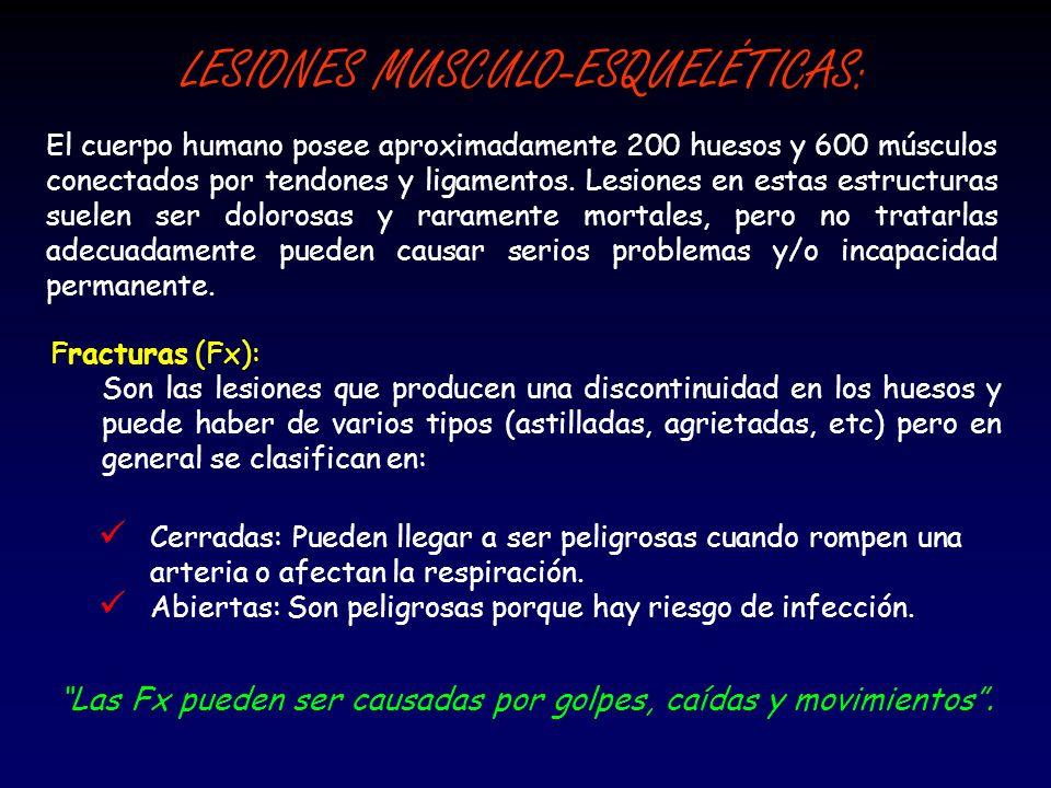 LESIONES MUSCULO-ESQUELÉTICAS: Fracturas (Fx): Son las lesiones que producen una discontinuidad en los huesos y puede haber de varios tipos (astillada