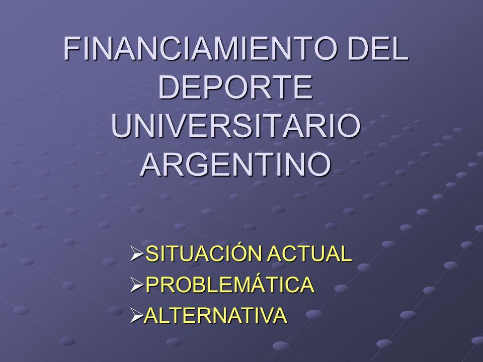 FINANCIAMIENTO DEL DEPORTE UNIVERSITARIO ARGENTINO SITUACIÓN ACTUAL SITUACIÓN ACTUAL PROBLEMÁTICA PROBLEMÁTICA ALTERNATIVA ALTERNATIVA