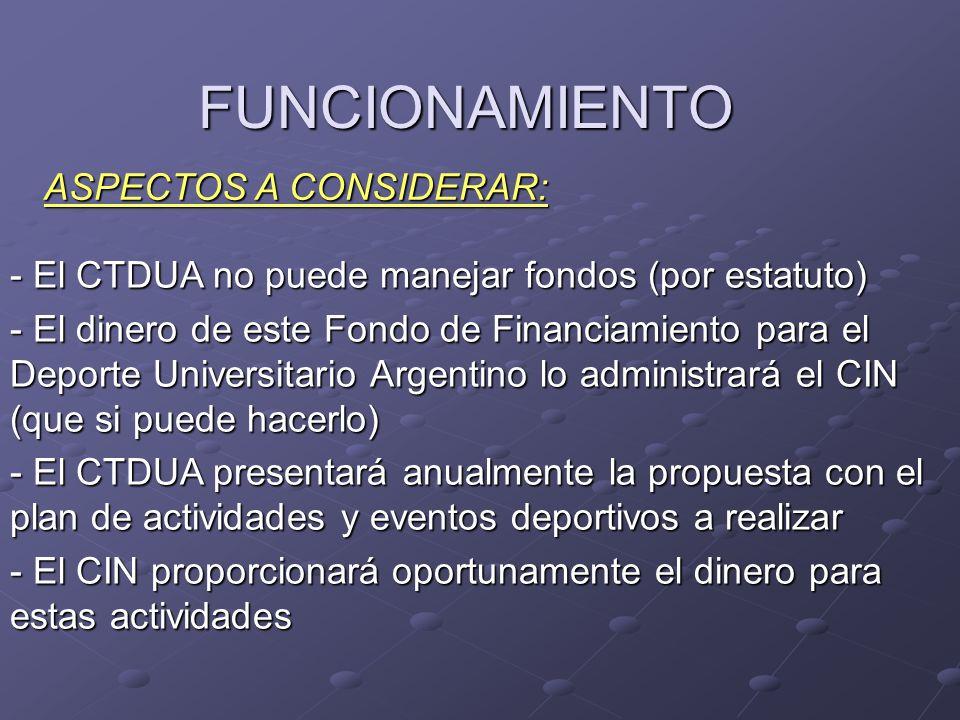 FUNCIONAMIENTO - El CTDUA no puede manejar fondos (por estatuto) - El dinero de este Fondo de Financiamiento para el Deporte Universitario Argentino lo administrará el CIN (que si puede hacerlo) - El CTDUA presentará anualmente la propuesta con el plan de actividades y eventos deportivos a realizar - El CIN proporcionará oportunamente el dinero para estas actividades ASPECTOS A CONSIDERAR: