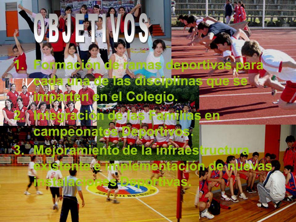 1.Formación de ramas deportivas para cada una de las disciplinas que se imparten en el Colegio.