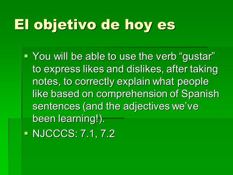 El objetivo de hoy es You will be able to use the verb gustar to express likes and dislikes, after taking notes, to correctly explain what people like based on comprehension of Spanish sentences (and the adjectives weve been learning!).