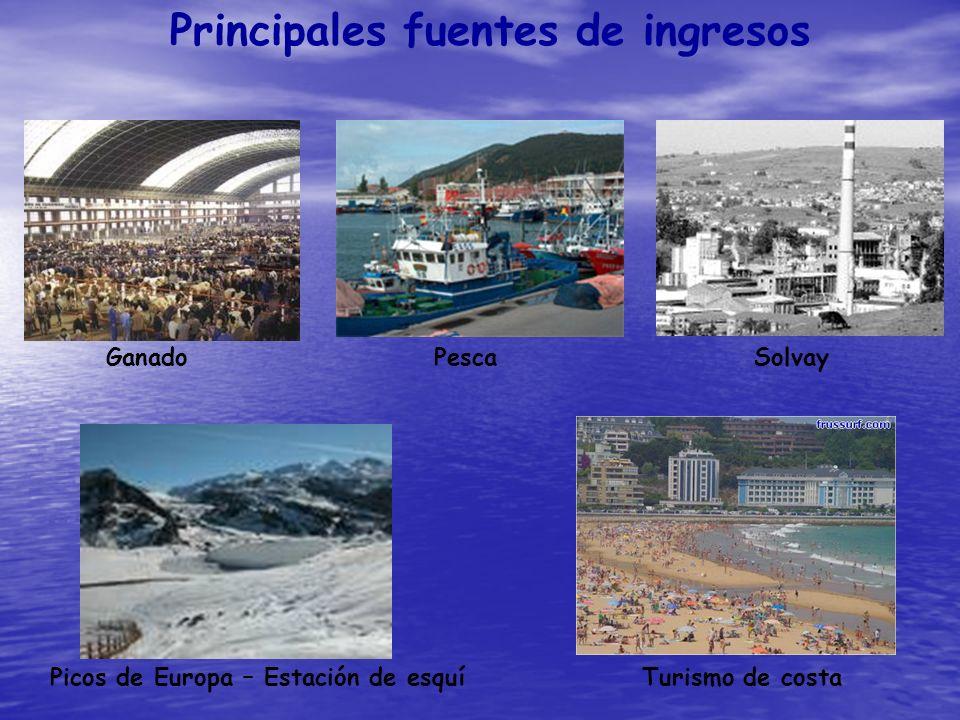 Principales fuentes de ingresos GanadoPescaSolvay Picos de Europa – Estación de esquíTurismo de costa
